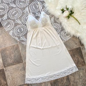 Vintage white slip dress with light cup support